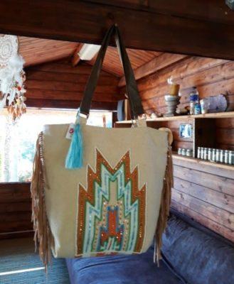 sac toile ethnique turquoise