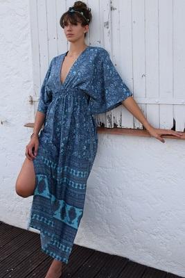 Robe longue soie turquoise gris