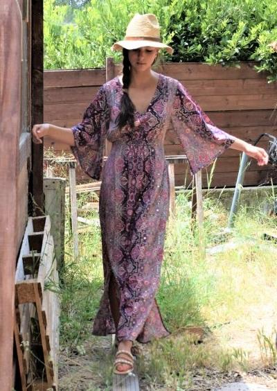 Robe hippie-chic rose