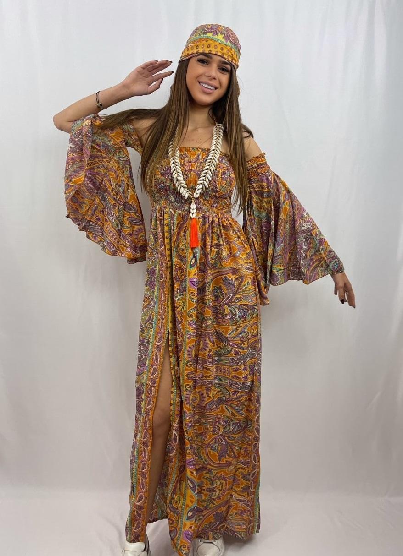 longue robe bohème smockée